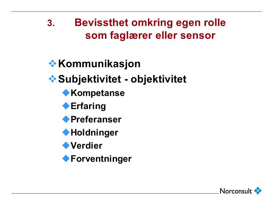 3. Bevissthet omkring egen rolle som faglærer eller sensor