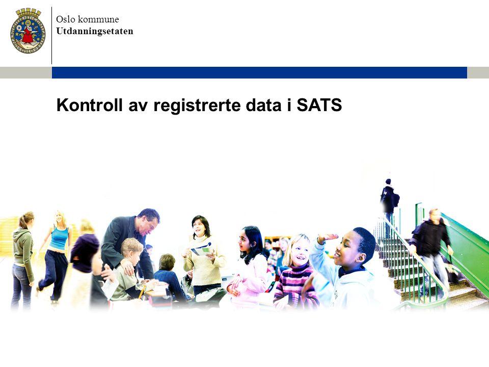 Kontroll av registrerte data i SATS