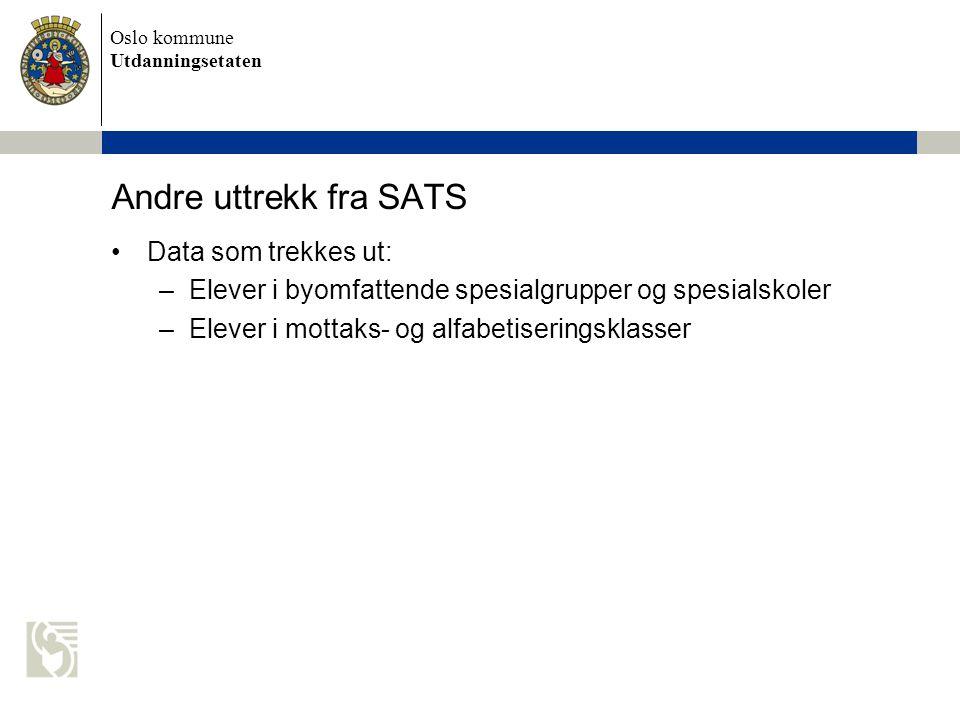 Andre uttrekk fra SATS Data som trekkes ut: