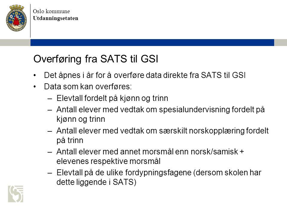 Overføring fra SATS til GSI