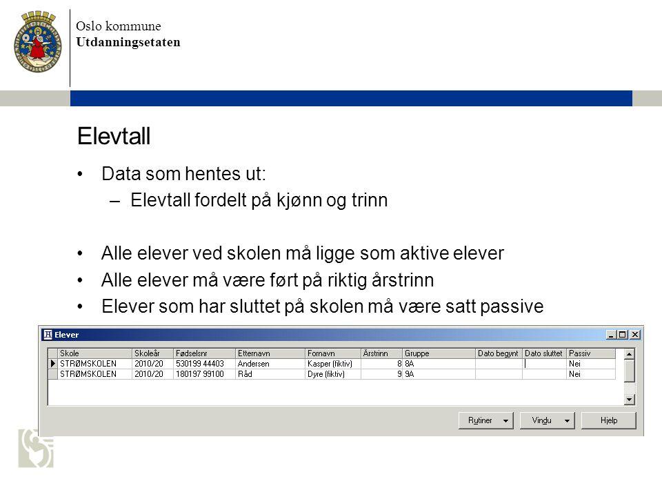 Elevtall Data som hentes ut: Elevtall fordelt på kjønn og trinn