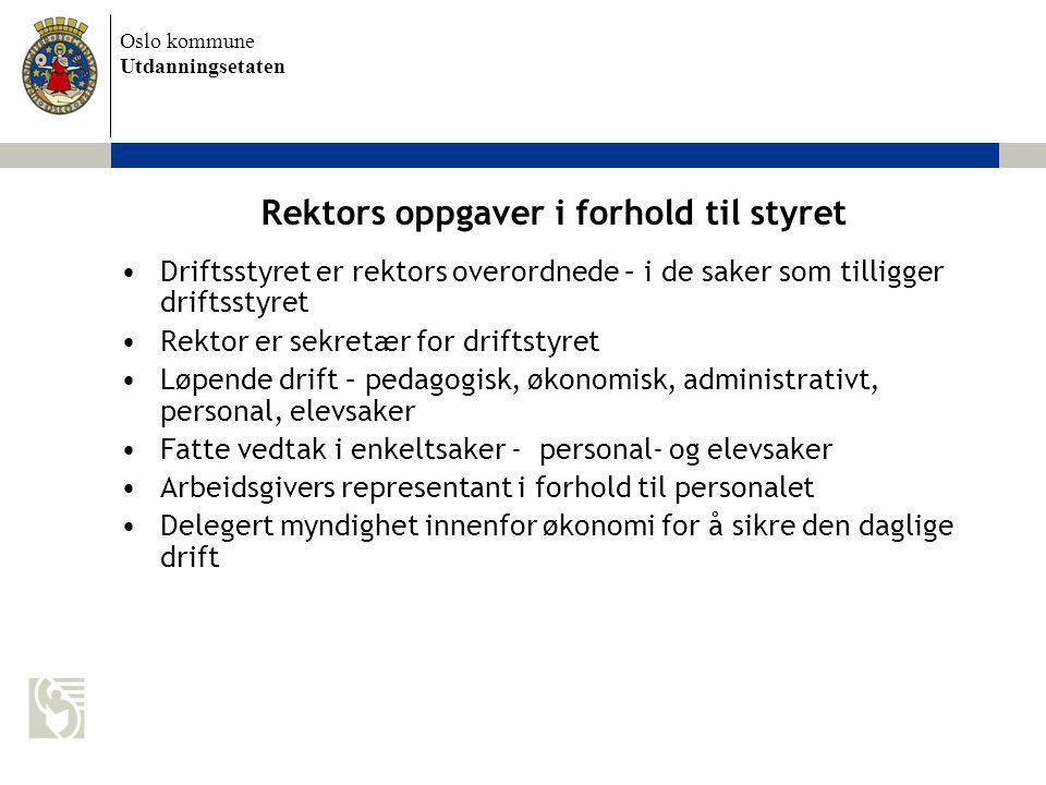 Rektors oppgaver i forhold til styret