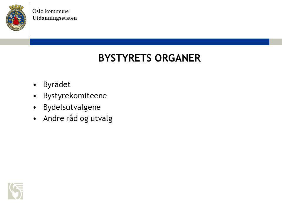 BYSTYRETS ORGANER Byrådet Bystyrekomiteene Bydelsutvalgene