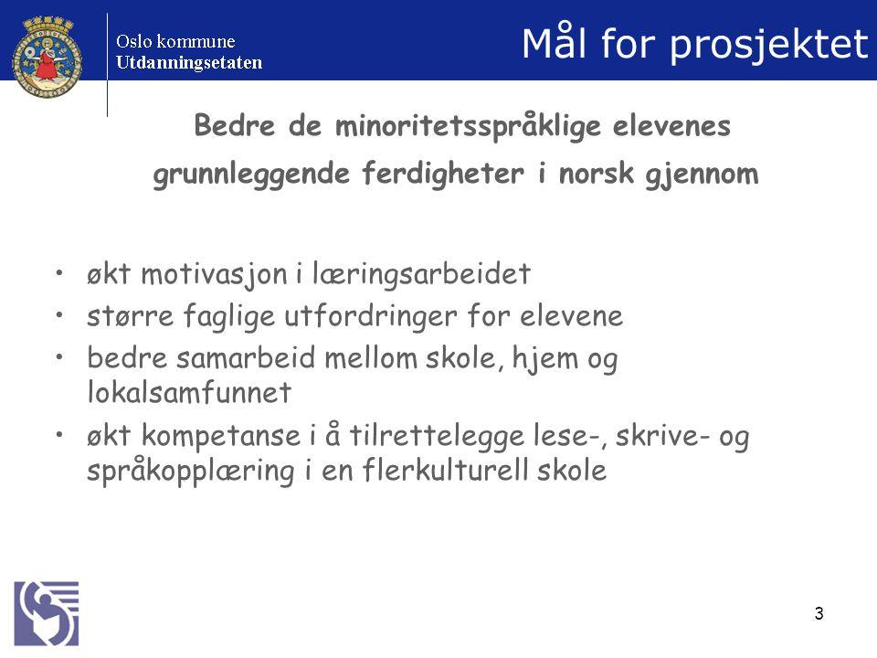 Mål for prosjektet Bedre de minoritetsspråklige elevenes grunnleggende ferdigheter i norsk gjennom.