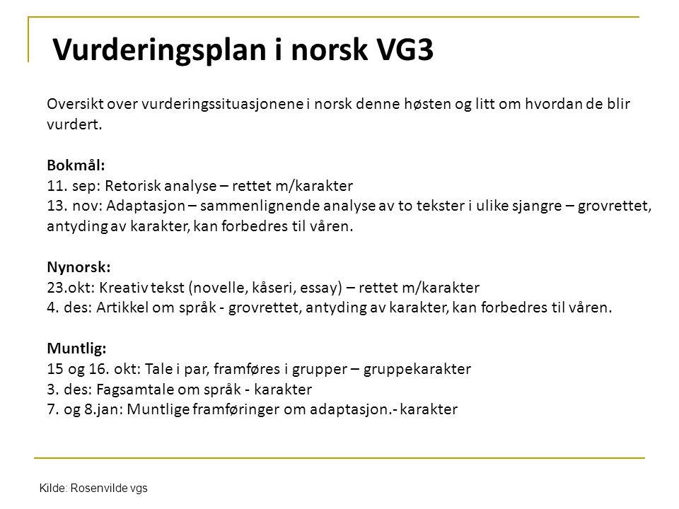 Vurderingsplan i norsk VG3