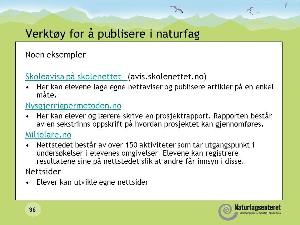 Verktøy for å publisere i naturfag