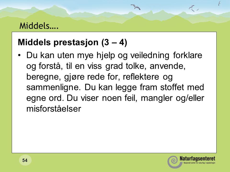 Middels…. Middels prestasjon (3 – 4)