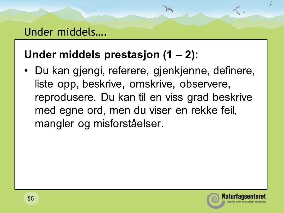 Under middels…. Under middels prestasjon (1 – 2):
