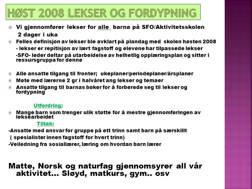 Høst 2008 Lekser og fordypning