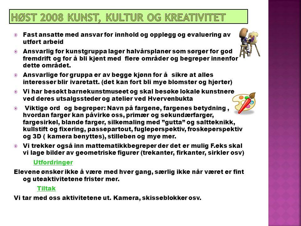 Høst 2008 Kunst, kultur og kreativitet