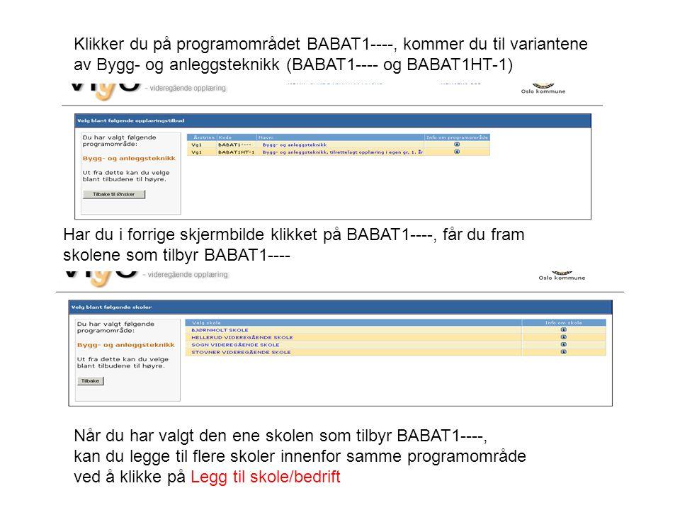 Klikker du på programområdet BABAT1----, kommer du til variantene av Bygg- og anleggsteknikk (BABAT1---- og BABAT1HT-1)