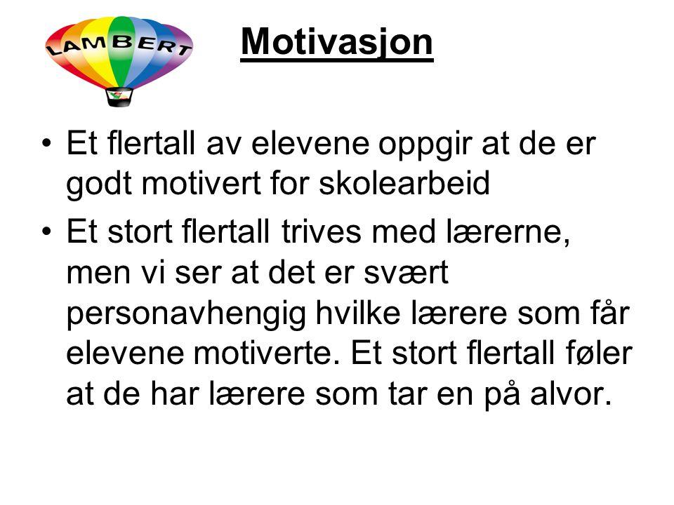 Motivasjon Et flertall av elevene oppgir at de er godt motivert for skolearbeid.