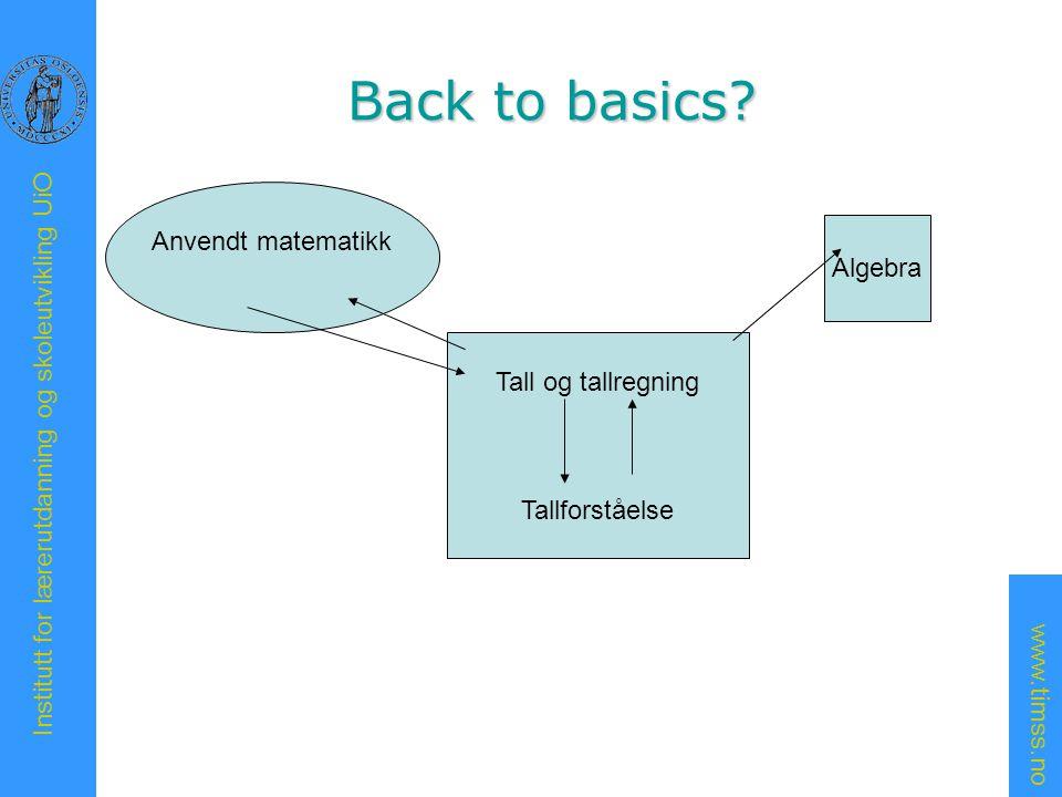 Back to basics Anvendt matematikk Algebra Tall og tallregning