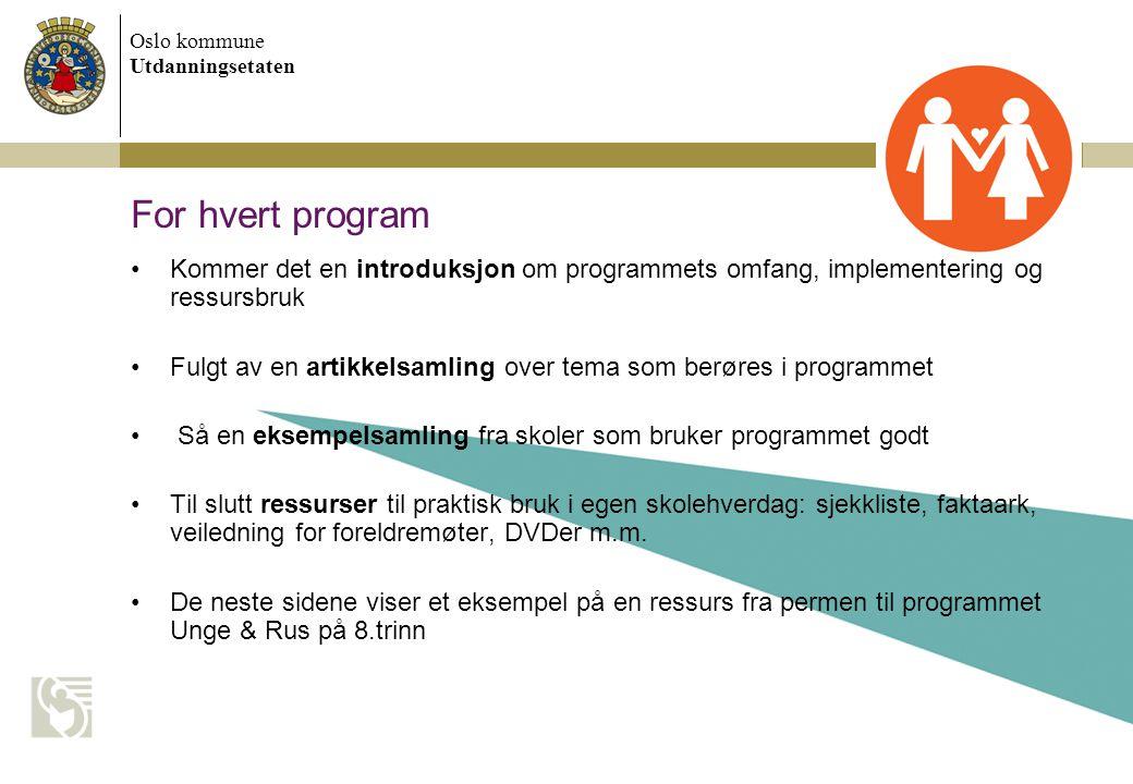 For hvert program Kommer det en introduksjon om programmets omfang, implementering og ressursbruk.