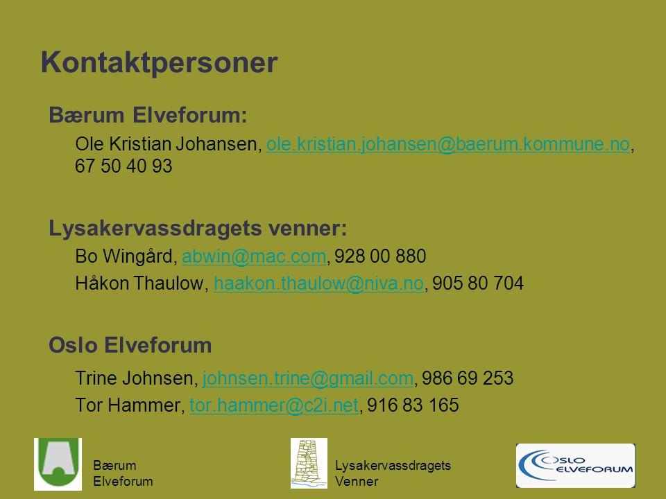 Kontaktpersoner Bærum Elveforum: Lysakervassdragets venner:
