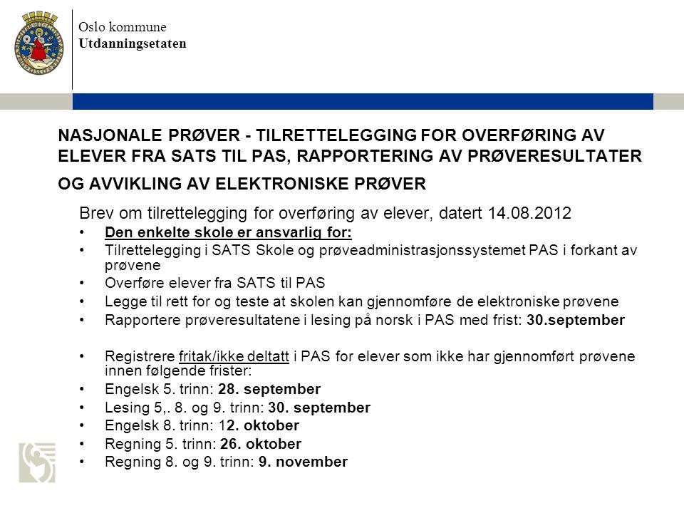 Brev om tilrettelegging for overføring av elever, datert 14.08.2012