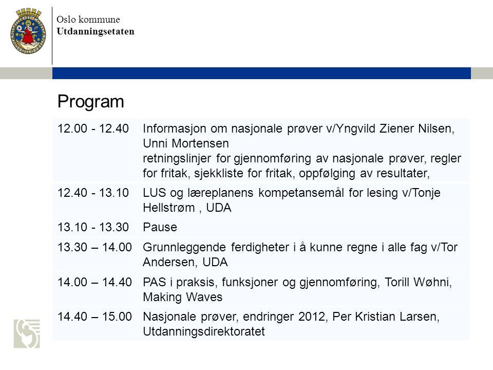 Program 12.00 - 12.40. Informasjon om nasjonale prøver v/Yngvild Ziener Nilsen, Unni Mortensen.