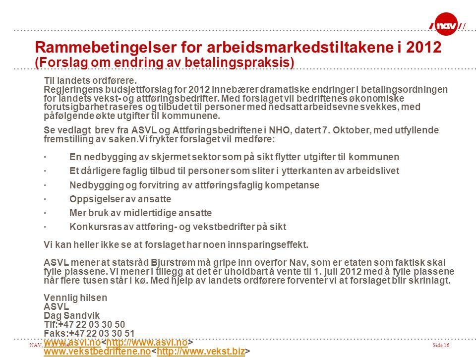 Rammebetingelser for arbeidsmarkedstiltakene i 2012 (Forslag om endring av betalingspraksis)