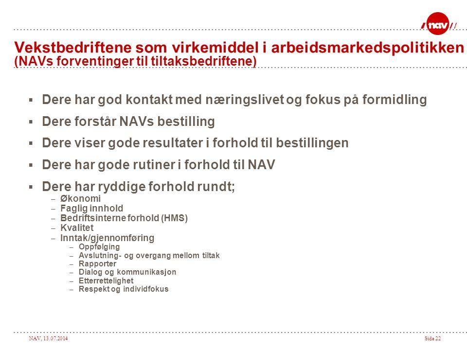 Vekstbedriftene som virkemiddel i arbeidsmarkedspolitikken (NAVs forventinger til tiltaksbedriftene)