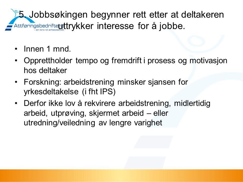 5. Jobbsøkingen begynner rett etter at deltakeren uttrykker interesse for å jobbe.