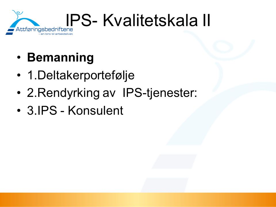 IPS- Kvalitetskala II Bemanning 1.Deltakerportefølje
