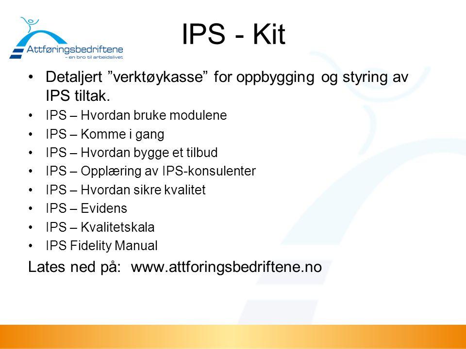 IPS - Kit Detaljert verktøykasse for oppbygging og styring av IPS tiltak. IPS – Hvordan bruke modulene.