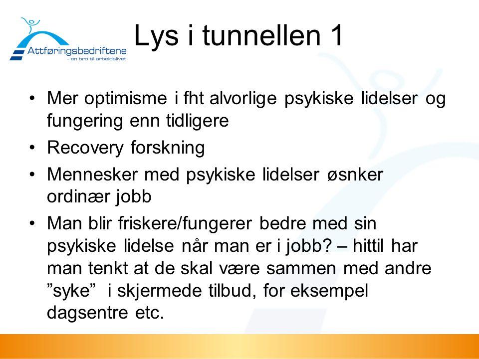 Lys i tunnellen 1 Mer optimisme i fht alvorlige psykiske lidelser og fungering enn tidligere. Recovery forskning.
