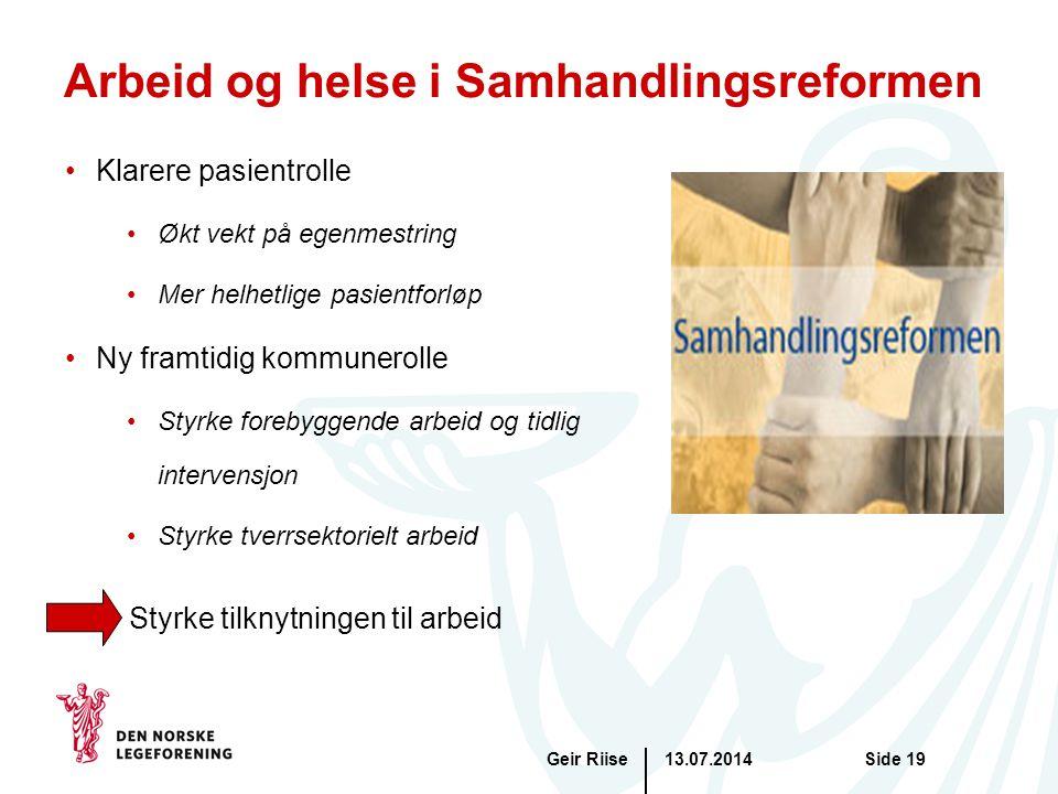 Arbeid og helse i Samhandlingsreformen