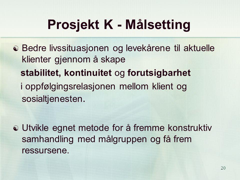 Prosjekt K - Målsetting