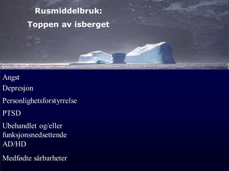 Rusmiddelbruk: Toppen av isberget. Angst. Depresjon. Personlighetsforstyrrelse. PTSD. Ubehandlet og/eller funksjonsnedsettende AD/HD.