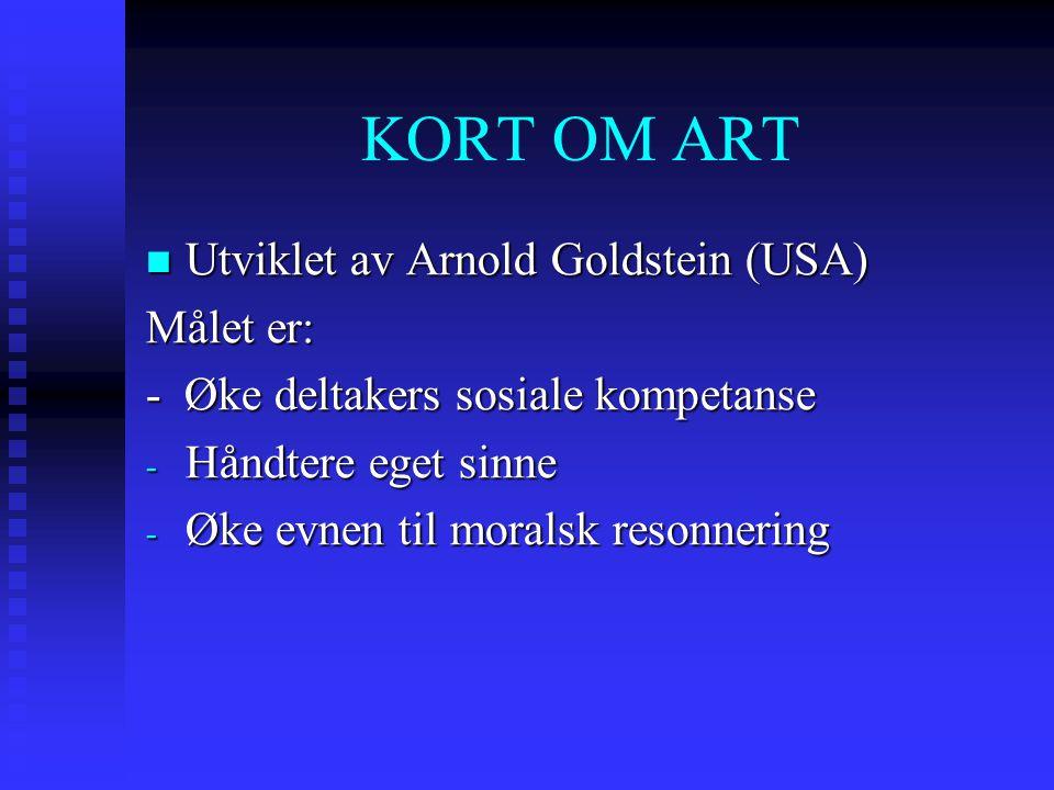 KORT OM ART Utviklet av Arnold Goldstein (USA) Målet er: