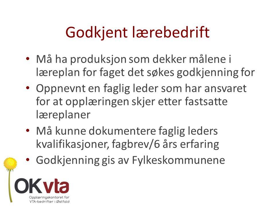 Godkjent lærebedrift Må ha produksjon som dekker målene i læreplan for faget det søkes godkjenning for.