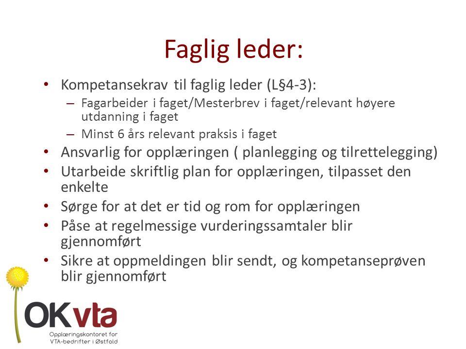 Faglig leder: Kompetansekrav til faglig leder (L§4-3):