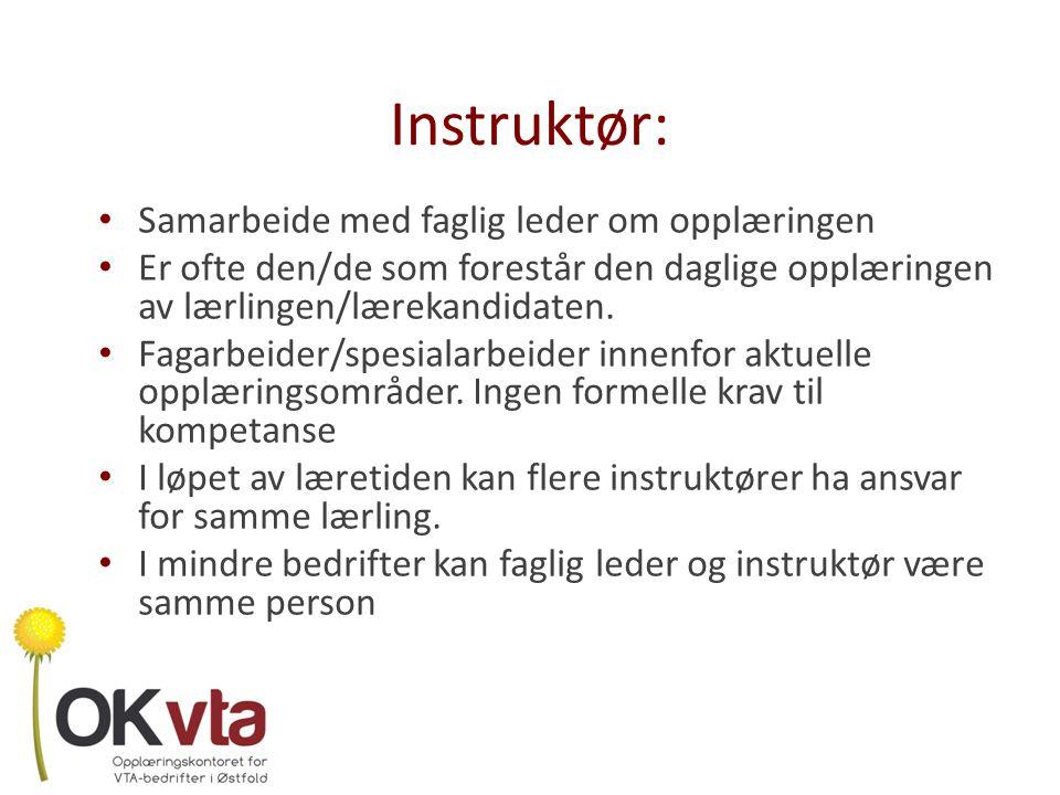 Instruktør: Samarbeide med faglig leder om opplæringen