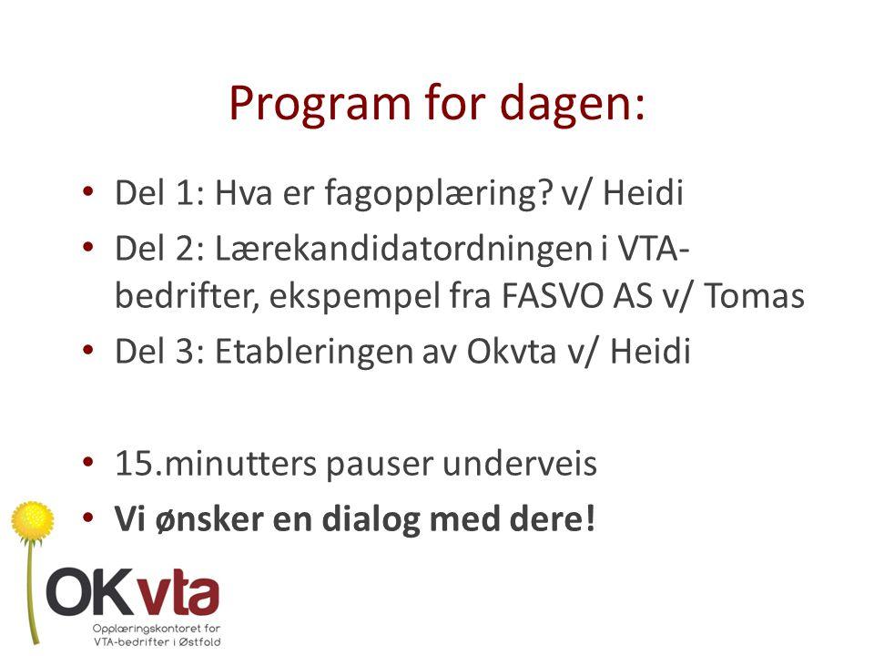Program for dagen: Del 1: Hva er fagopplæring v/ Heidi