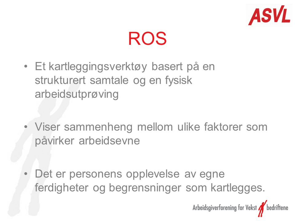 ROS Et kartleggingsverktøy basert på en strukturert samtale og en fysisk arbeidsutprøving.