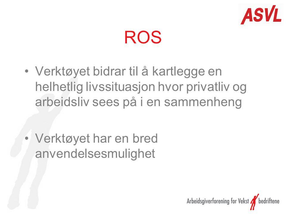 ROS Verktøyet bidrar til å kartlegge en helhetlig livssituasjon hvor privatliv og arbeidsliv sees på i en sammenheng.