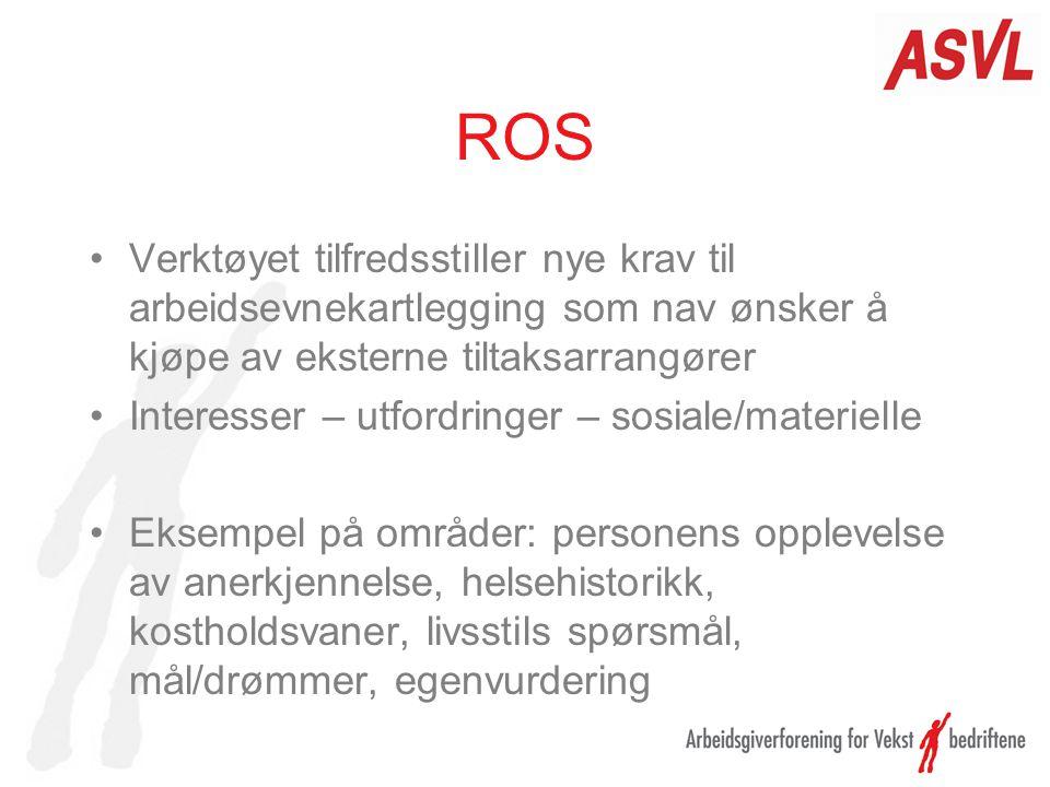 ROS Verktøyet tilfredsstiller nye krav til arbeidsevnekartlegging som nav ønsker å kjøpe av eksterne tiltaksarrangører.