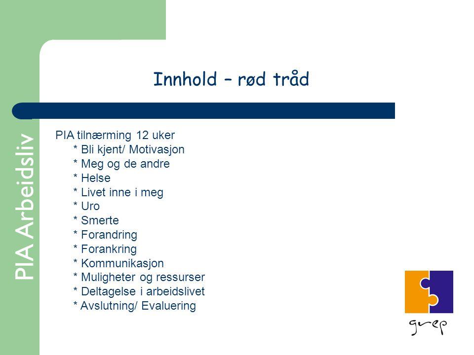 PIA Arbeidsliv Innhold – rød tråd PIA tilnærming 12 uker