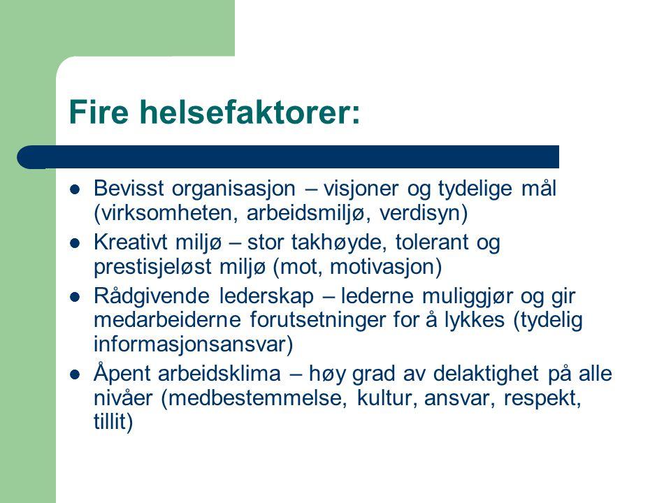 Fire helsefaktorer: Bevisst organisasjon – visjoner og tydelige mål (virksomheten, arbeidsmiljø, verdisyn)