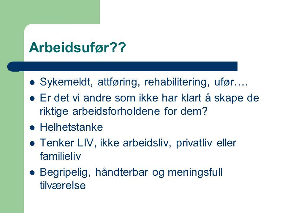 Arbeidsufør Sykemeldt, attføring, rehabilitering, ufør….