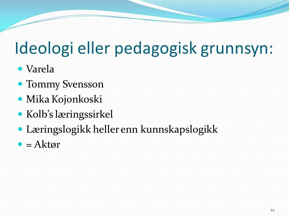 Ideologi eller pedagogisk grunnsyn: