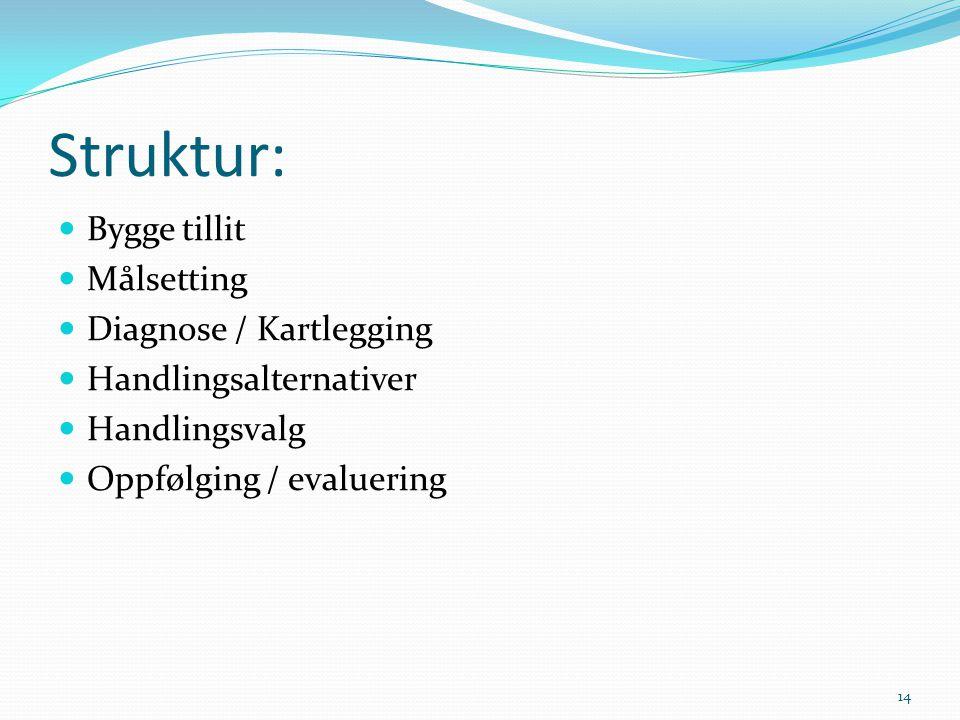 Struktur: Bygge tillit Målsetting Diagnose / Kartlegging