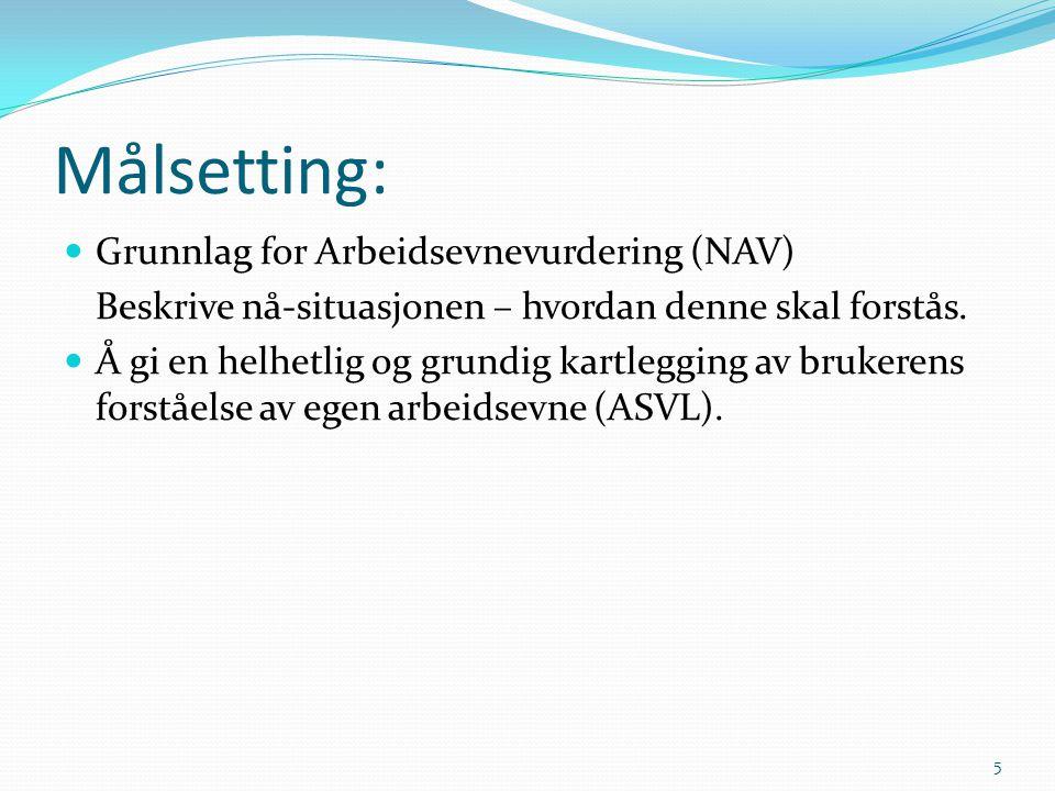 Målsetting: Grunnlag for Arbeidsevnevurdering (NAV)