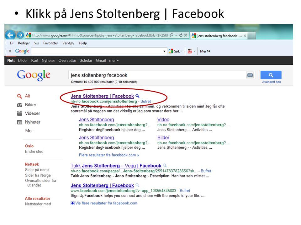 Klikk på Jens Stoltenberg | Facebook