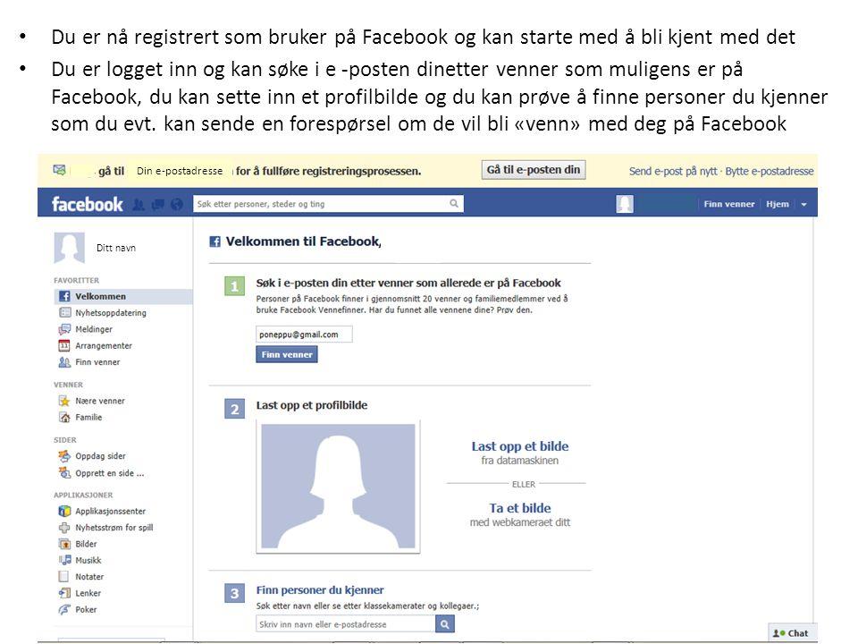 Du er nå registrert som bruker på Facebook og kan starte med å bli kjent med det