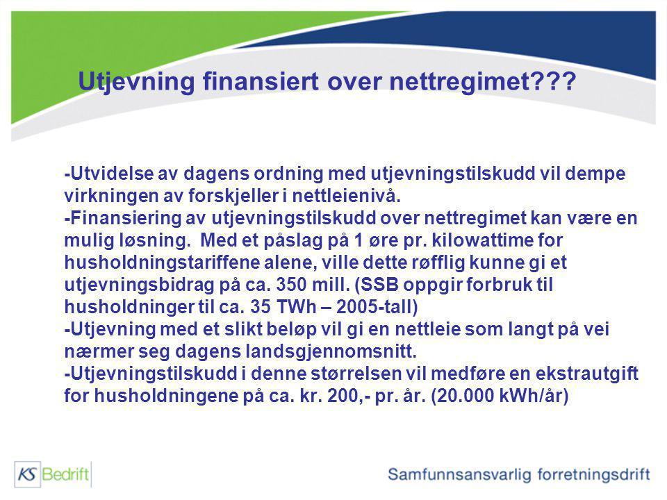 Utjevning finansiert over nettregimet