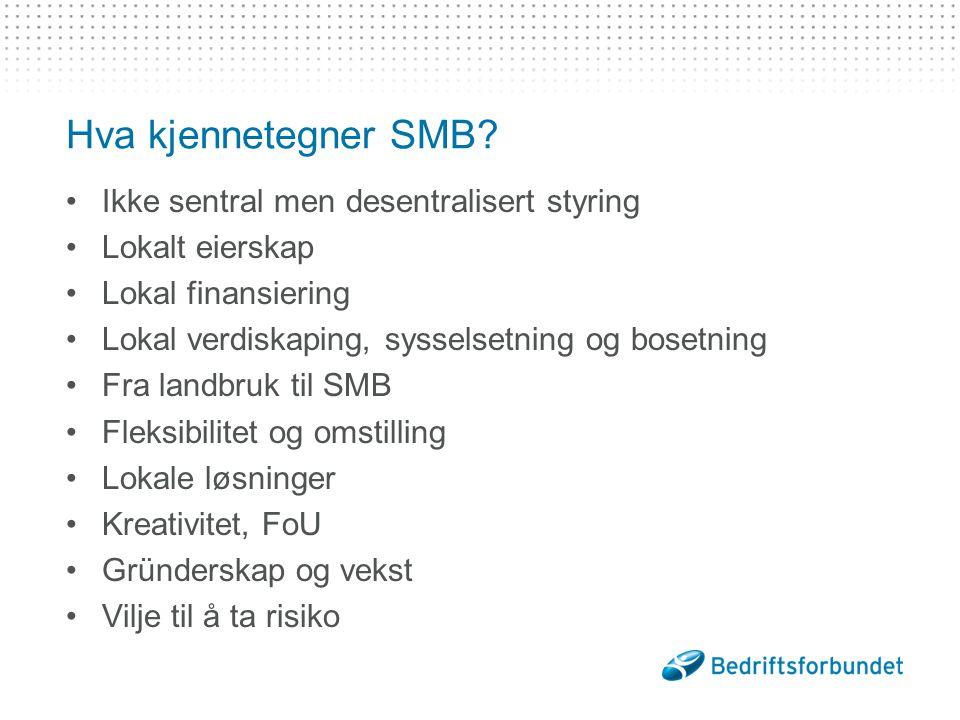 Hva kjennetegner SMB Ikke sentral men desentralisert styring