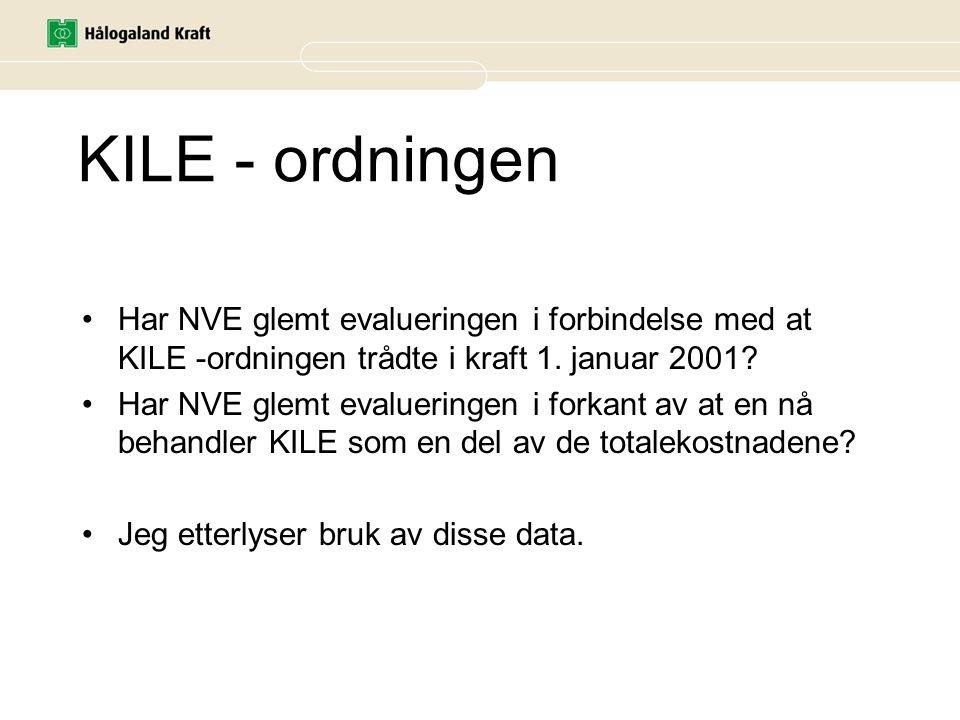 KILE - ordningen Har NVE glemt evalueringen i forbindelse med at KILE -ordningen trådte i kraft 1. januar 2001