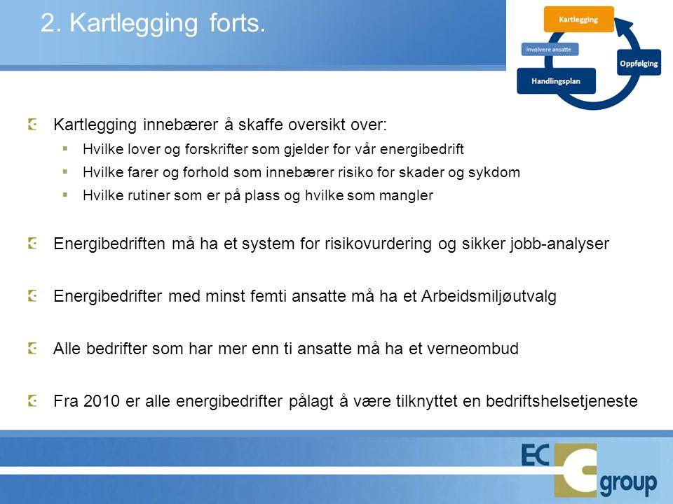 2. Kartlegging forts. Kartlegging innebærer å skaffe oversikt over: